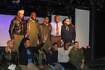 """7th Anniversary of Layon Gray's """"Black Angels Over Tuskegee"""" - Straighten Up Fly Right - cast - back row: Layon Gray (also wrote and directed it), David Roberts, Anthony Goss, Melvin Huffnagle, Thaddeus Daniels. Front"""" Delano Barbosa, Lamar Cheston, Craig Colasanti on February 10, 2017 at St. Luke's Theatre, New York City, New York. (Photo by Sue Coflin/Max Photos)"""