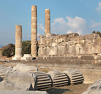 Temple of Leto, built 3rd century BC, Letoon, near Xanthos, Antalya, Turkey. This is the largest and best-preserved of the 3 temples on the site. It was built of very fine limestone, creating the illusion of marble. An ionic peripteros of 11x6 columns surrounded the cult room or cella, which was decorated with a Corinthian colonnade. The Letoon or Sanctuary of Leto was the sacred cult centre of Lycia, its most important sanctuary, and was dedicated to the 3 national deities of Lycia, Leto and her twin children Apollo and Artemis. Leto was also worshipped as a family deity and as the guardian of the tomb. The site is 10km South of the ancient city of Xanthos in Lycia, near the modern-day village of Kumluova, Fethiye. Founded in the 6th century BC, the Greek site also flourished throughout Roman times, and a church was built here in the Christian era. The site was abandoned in the 7th century AD. Picture by Manuel Cohen