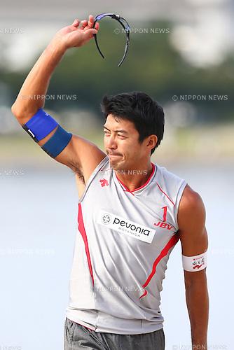 Shinya Hata,<br /> SEPTEMBER 21, 2015 - Beach Volleyball : <br /> JBV Tour 2015 Tokyo Open<br /> Men's Final<br /> at Odaiba Beach, Tokyo, Japan.<br /> (Photo by Shingo Ito/AFLO SPORT)