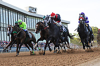 HOT SPRINGS, AR - APRIL 15: The Arkansas Derby field crossing the home stretch the first time around at Oaklawn Park on April 15, 2017 in Hot Springs, Arkansas. (Photo by Justin Manning/Eclipse Sportswire/Getty Images)