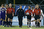 20 November 2014: Match Officials (from left): Assistant referee Jeffrey Skinker, Fourth Official Jeremy L.B. Smith, Referee Mohammad Samadpour, and Assistant referee Jude Carr. The University of North Carolina Tar Heels hosted the James Madison University Dukes at Fetzer Field in Chapel Hill, NC in a 2014 NCAA Division I Men's Soccer Tournament First Round match. UNC won the game 6-0.