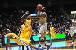 "Ole Miss' Murphy Holloway (31) charges into McNeese State's Desharick Guidry (32) at the C.M. ""Tad"" Smith Coliseum in Oxford, Miss. on Tuesday, November 20, 2012. .."