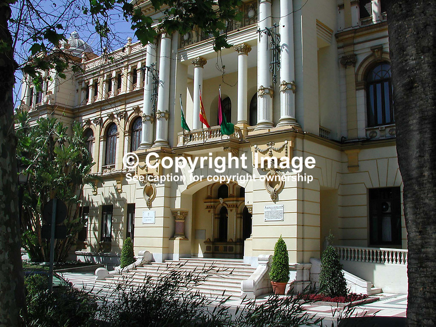 Town Hall, Malaga, Spain, 2001032462..Copyright Image from Victor Patterson, 54 Dorchester Park, Belfast, UK, BT9 6RJ..Tel: +44 28 9066 1296.Mob: +44 7802 353836.Voicemail +44 20 8816 7153.Skype: victorpattersonbelfast.Email: victorpatterson@mac.com.Email: victorpatterson@ireland.com (back-up)..IMPORTANT: If you wish to use this image or any other of my images please go to www.victorpatterson.com and click on the Terms & Conditions. Then contact me by email or phone with the reference number(s) of the image(s) concerned.