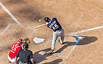 23 August 2015: Milwaukee Brewers outfielder Shane Peterson in action against the Washington Nationals at Nationals Park in Washington, DC. The Nationals defeated the Brewers 9-5 in the third game of their 3-game weekend series. Mandatory Credit: Ed Wolfstein Photo *** RAW (NEF) Image File Available ***
