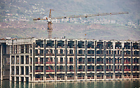 Construction site at new town along the Yangtze River for rehoming residents, China