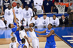 07 APR 2014: James Young (1) of the University of Kentucky tries to shoot over DeAndre Daniels (2) of the  University of Connecticut takes on the  during the 2014 NCAA Men's DI Basketball Final Four Championship at AT&T Stadium in Arlington, TX.  Connecticut defeated Kentucky 60-54 to win the national title. Brett Wilhelm/NCAA Photos