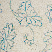 Folia, a handmade mosaic shown in Quartz and Aquamarine Sea Glass&trade;, is part of the Sea Glass&trade; Collection by Sara Baldwin for New Ravenna. <br />