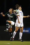 10 November 2012: Loyola Maryland's Brittany Yancey (4) and Duke's Callie Simpkins (6) challenge for the ball. The Duke University Blue Devils played the Loyola University Maryland Greyhounds at Koskinen Stadium in Durham, North Carolina in a 2012 NCAA Division I Women's Soccer Tournament First Round game. Duke won the game 6-0.
