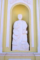 Statue on facade of Iglesia de San Marcos church  the Spanish colonial town of Gracias, Lempira, Honduras.