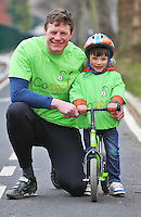 09/04/13 Rugby ace Malcolm O'Kelly (6ft 8) and little Robbie Jones (age 3) from Irishtown, Dublin pictured at the launch of national suicide prevention and bereavement charity Console's 'Open to All - Big and Small' Grand Canal cycle..Cyclists of all ages and abilities are being asked to get on their bikes and join a host of celebrities for the 20 kilometre Grand Canal cycle on April 21(10 am) in aid of Console..The fun cycle will set off from the Bord Gais Energy Theatre running along the canal bank cycle path to the 12th lock at Lucan and back. Details are available on www.console.ie or by calling these numbers 01 610 2638 or 086 1297625....Picture Colin Keegan, Collins, Dublin.