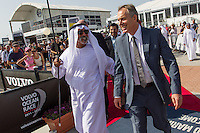 UAE, Abu Dhabi. 13th January 2012. Volvo Ocean Race, Race Village. His Highness Sheikh Nahyan bin Mubarak Al Nahyan, Minister of Higher Education and Scientific Research UAE and former British Prime Minister, Tony Blair at the Etihad Airways In-Port Race.