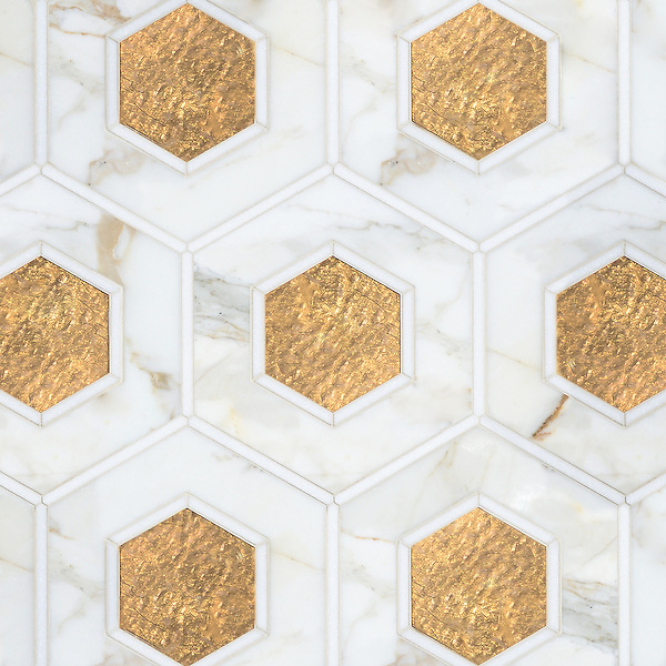 Ruche, a stone waterjet mosaic, shown in polished Calacatta, polished Thassos, and honed Gold Glass.