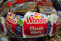 Loaves of Wonder Bread in a supermarket New York on Thursday, September 13, 2012, 2012. The iconic maker of Twinkies, as well as Wonder Bread and other favorites foods has entered Chapter 11 for the second time in ten years having been saddled with almost $1 billion in debt. (© Richard B. Levine)