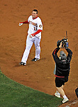 30 March 2008: Washington Nationals' third baseman Ryan Zimmerman enjoys his moment of triumph after hitting a game-winning, walk-off solo home run in the bottom of the ninth inning as the Nationals defeat the Atlanta Braves 3-2, capping off the inauguration of Nationals Park in Washington, DC. The win christened the new state-of-the-art ballpark to a sellout crowd of 39,389...Mandatory Photo Credit: Ed Wolfstein Photo