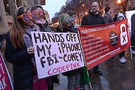 Washington, DC - February 23, 2016: Protesters gather in front of the Federal Bureau of Investigation (FBI) headquarters in the District of Columbia, February 23, 2016, to stand against the FBI forcing Apple to break the iPhone encryption of one of the San Bernadino shooters. (Photo by Don Baxter/Media Images International)