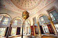 "The Enderûn Library (Enderûn Kütüphanesi), also known as ""Library of Sultan Ahmed III"" . The walls above the windows are decorated with 16th and 17th century İznik tiles of variegated design and the  dome and vaults are typical of the Tulip period, which lasted from 1703 to 1730.  Tarkapi Palace Istanbul, Turkey"