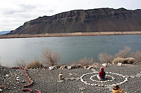Everyday Shae Moore  (CQ) likes to sit in one of her meditation circles and be exposed to nature outside her home in Schawana, Wash. along the Columbia River on February 8, 2011.  (photo credit Karen Ducey)