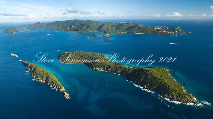 Aerial view of Congo and Lovango Cays<br />