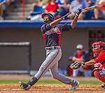11 March 2013: Atlanta Braves outfielder B.J. Upton in action during a Spring Training game against the Washington Nationals at Space Coast Stadium in Viera, Florida. The Braves defeated the Nationals 7-2 in Grapefruit League play. Mandatory Credit: Ed Wolfstein Photo *** RAW (NEF) Image File Available ***