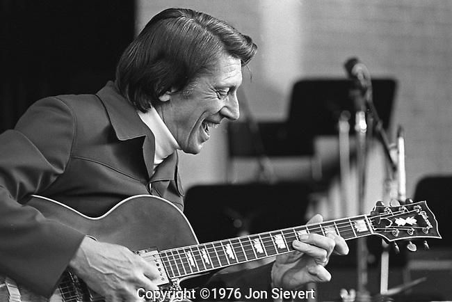 8/20/76, Concord Pavillion, Concord, CA.23-17-3. Nearly as famous for his reluctance to play as for his outstanding abilities, guitarist Tal Farlow did not take up the instrument until he was already 21, but within a year was playing professionally. While with the Red Norvo Trio (which originally included Charles Mingus) from 1949-1953, Farlow became famous in the jazz world. His huge hands and ability to play rapid yet light lines made him one of the top guitarists of the era.<br /> <br /> After six months with Artie Shaw's Gramercy Five in 1953, Farlow put together his own group. Late in 1958, Farlow settled on the East Coast, became a sign painter, and just played locally. He made one record as a leader during 1960-1975, but emerged a bit more often during 1976-1984, recording for Concord fairly regularly before largely disappearing again.
