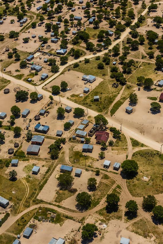 Aerial view, Maun, Botswana.