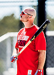 27 February 2017: Washington Nationals first baseman Clint Robinson awaits his turn in the batting cage during a Spring Training workout at the Ballpark of the Palm Beaches in West Palm Beach, Florida. Mandatory Credit: Ed Wolfstein Photo *** RAW (NEF) Image File Available ***