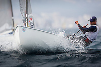 20140401, Palma de Mallorca, Spain: SOFIA TROPHY 2014 - 850 sailors from 50 countries compete at the ISAF Sailing World Cup event. Finn - USA6 - Caleb Paine. Photo: Mick Anderson/SAILINGPIX.