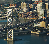 aerial photograph of San Francisco Oakland Bay Bridge, South Beach San Francisco California, AT&T Park and Embarcadero in background