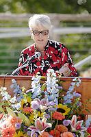 Former San Antonio City Councilwoman Bonnie Conner speaks during the grand re-opening of the Jingu House, Saturday, Oct. 22, 2011, at the Japanese Tea Garden in San Antonio, Texas, USA. (Darren Abate/pressphotointl.com)
