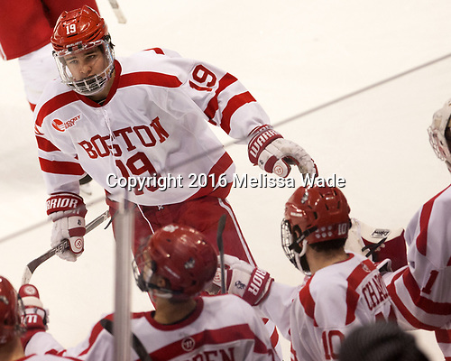 Clayton Keller (BU - 19) The Boston University Terriers defeated the visiting Yale University Bulldogs 5-2 on Tuesday, December 13, 2016, at the Agganis Arena in Boston, Massachusetts.