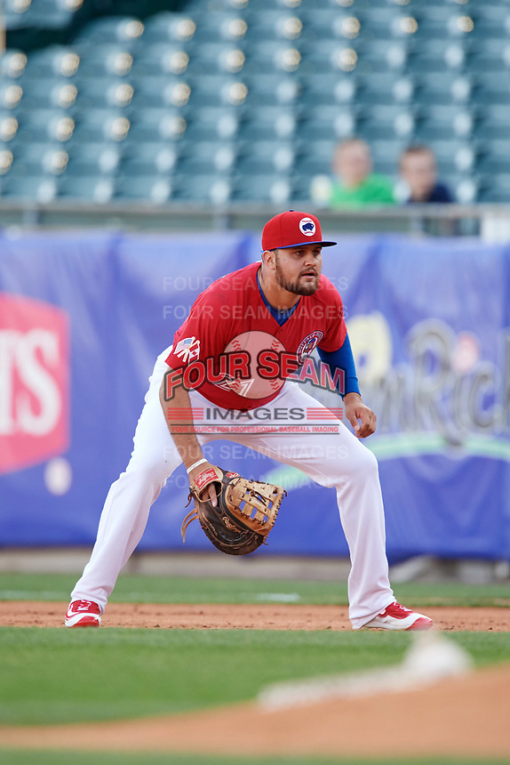 Buffalo Bisons first baseman Rowdy Tellez (21) during a game against the Syracuse Chiefs on May 18, 2017 at Coca-Cola Field in Buffalo, New York.  Buffalo defeated Syracuse 4-3.  (Mike Janes/Four Seam Images)