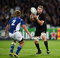 Luke Romano of New Zealand gathers the ball. Rugby World Cup Pool C match between New Zealand and Namibia on September 24, 2015 at The Stadium, Queen Elizabeth Olympic Park in London, England. Photo by: Patrick Khachfe / Onside Images