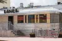 Diner car in art deco architecture near Ocean Drive, South Beach, Miami, Florida, United States of America