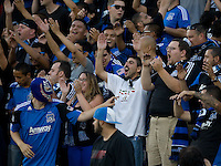 Earthquakes fans root during the game between Earthquakes and Seattle at Buck Shaw Stadium in Santa Clara, California on August 11th, 2012.   Earthquakes defeated Sounders, 2-1.