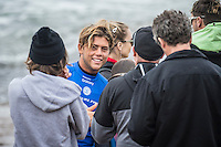 BELLS BEACH, Victoria/AUS (Monday, March 28, 2016) Conner Coffin (USA) - Action at the Rip Curl Pro Bells Beach, the second stop on the World Surf League (WSL) Championship Tour (CT), continued today with the remaining six heats of Round Three before the contest was called off for the day.<br /> There were onshore South West winds throughout the day with a dropping swell in the 3'-5' range. <br /> The Heritage Round with Damien Hardman (AUS) and Barton Lynch (AUS) was held today with Lynch coming out victorious. <br /> <br /> Bells Beach has been hosting surfing tournaments for more than 50 years now, making it the most renowned spot on the raw and rugged southern coast of Victoria, Australia. The list of  Rip Curl Pro event champions is a veritable who's who of surfing icons, including many world champions.<br /> <br /> Surfing's greats have a way of dominating Bells. Mark Richards, Kelly Slater, and Mick Fanning all have four Bells trophies; Michael Peterson and Sunny Garcia, three; While Simon Anderson, Tom Curren, Joel Parkinson, Andy Irons, and Damien Hardman each grabbed a pair.<br /> <br /> The story is similar on the women's side. Lisa Andersen and Stephanie Gilmore have four Bells titles; Layne Beachley and Pauline Menczer, three; while Kim Mearig and Sally Fitzgibbons each have two.<br /> <br /> The 2016 event is about to kick off tomorrow and there was a packed warm up session at Bells this morning. <br /> Photo: joliphotos.com