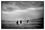 Nomadic horsemen returning to (4,000 m high) grassland, Lithang, Kham, Tibet.