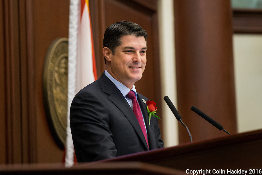 TALLAHASSEE, FLA. 1/12/16-House Speaker Steve Crisafulli, R-Merritt Island, speaks during the opening day of the 2016 legislative session, Tuesday at the Capitol in Tallahassee.<br /> <br /> COLIN HACKLEY PHOTO