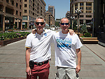 St Johnstone UEFA Cup Qualifyer, Armenia...01.07.15<br /> Saints fans Mark Taylor (left) and Andy Kennedy pictured in the Armenian capital Yerevan ahead of tomorrow nights game against Alashkert FC.<br /> Picture by Graeme Hart.<br /> Copyright Perthshire Picture Agency<br /> Tel: 01738 623350  Mobile: 07990 594431