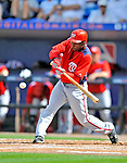 28 February 2011: Washington Nationals' outfielder Nyjer Morgan in action during a Spring Training game against the New York Mets at Digital Domain Park in Port St. Lucie, Florida. The Nationals defeated the Mets 9-3 in Grapefruit League action. Mandatory Credit: Ed Wolfstein Photo