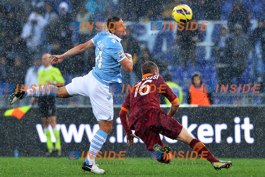 Miroslav Klose Lazio, Daniele De Rossi Roma.Roma 11/11/2012 Stadio Olimpico.Football Calcio 2012/2013 Serie A.Lazio Vs Roma.Foto Insidefoto Andrea Staccioli