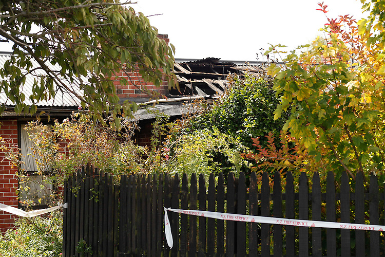 One person was found dead after a fire in this house in Ruskin Street, Christchurch, New Zealand, Sunday, March 18, 2012.  Credit:SNPA / Pam Johnson .