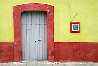 Colorful doorway of a house in Cholula, Puebla, Mexico