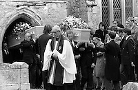 Pix: Copyright Anglia Press Agency/Archived via SWpix.com. The Bamber Killings. August 1985. Murders of Neville and June Bamber, daughter Sheila Caffell and her twin boys. Jeremy Bamber convicted of killings serving life...copyright photograph>>Anglia Press Agency>>07811 267 706>>..Funerals at Tolleshunt D'Arcy, Essex. no date..ref 0003 neg 2....