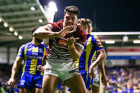 Picture by Alex Whitehead/SWpix.com - 09/03/2017 - Rugby League - Betfred Super League - Warrington Wolves v Wigan Warriors - Halliwell Jones Stadium, Warrington, England - Wigan's Anthony Gelling celebrates his try.