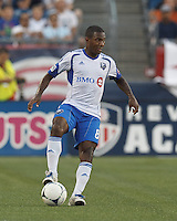 Montreal Impact midfielder Patrice Bernier (8) traps the ball. In a Major League Soccer (MLS) match, Montreal Impact defeated the New England Revolution, 1-0, at Gillette Stadium on August 12, 2012.