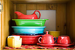 Margaret B. Jones's collection of fiestaware.  She recently started collecting peices in colors other than red.