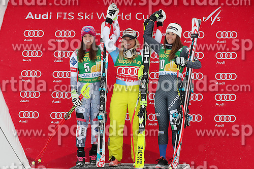 04.12.2016, Lake Louise, USA, FIS Weltcup Ski Alpin, Lake Louise, Super G, Damen, Siegerpr&auml;sentation, im Bild v.l. Tina Weirather (LIE, 2. Platz), Lara Gut (SUI, 1. Platz), Sofia Goggia (ITA, 3. Platz) // f.l. second placed Tina Weirather of Liechtenstein, race winner Lara Gut of Switzerland, third placed Sofia Goggia of Italy during the winner presentation for the women's SuperG of the Lake Louise FIS Ski Alpine World Cup at the Lake Louise, United States on 2016/12/04. EXPA Pictures &copy; 2016, PhotoCredit: EXPA/ SM<br /> <br /> *****ATTENTION - OUT of GER*****
