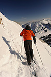 Powder skiing, Alta Utah under a blue sky.