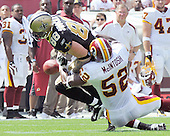 Landover, MD - September 14, 2008 -- New Orleans Saints tight end Jeremy Shockey (88) fumbles the ball after making a catch in the first quarter against the Washington Redskins at FedEx Field in Landover, Maryland on Sunday, September 14, 2008.  Redskin linebacker Rocky McIntosh (52) forced the fumble as he was tackling Shockey..Credit: Ron Sachs / CNP.(RESTRICTION: NO New York or New Jersey Newspapers or newspapers within a 75 mile radius of New York City)