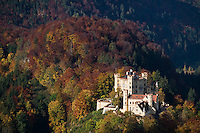 Hohenshwangau castle surrounded by colorful mountains in autumn, Schwangau, Bavaria, Germany
